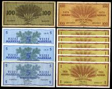 Finlands Bank, 1955-63, Lot of 11 Issued Banknotes