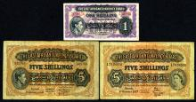 East African Currency Board, 1943-57, Trio of Issued Notes