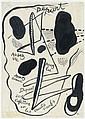 Fernand LEGER (Argentan, 1881 - Gif-sur-Yvette, 1955) LE DEPART, PROJET D'ILLUSTRATION Encre sur papier Japon