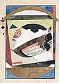 Hans REICHEL (Wurtzbourg, 1892- Paris, 1958) HERZLICHEN GRUSS DANK Collage, aquarelle et encre sur carte postale