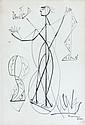 Léopold SURVAGE (Moscou, 1879 - Paris, 1968) PERSONNAGE, 1955 Dessin à l'encre sur papier