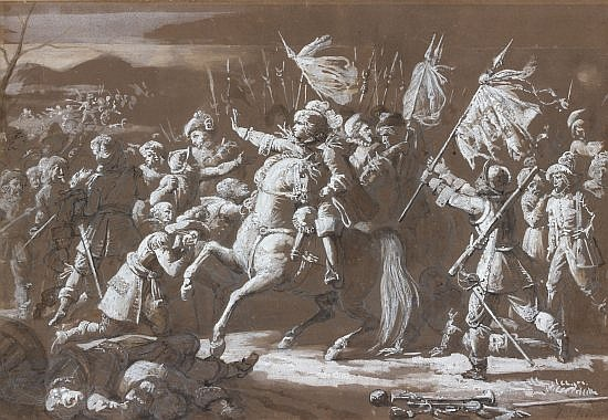 Jean Victor SCHNETZ Versailles, 1787 - Paris, 1870 La bataille de Rocroy Lavis et rehaut de blanc signé 'V Schnetz' en bas à droite
