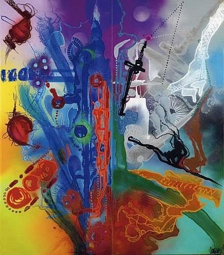 SHUCK ONE (né en 1970 -) RECYCLAGE MODERNE, 2001 Peinture aérosol et acrylique sur deux toiles (diptyque)