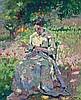 Paul-Elie GERNEZ (1888 - 1948) FEMME COUSANT DANS UN JARDIN - 1916 Huile sur carton fort