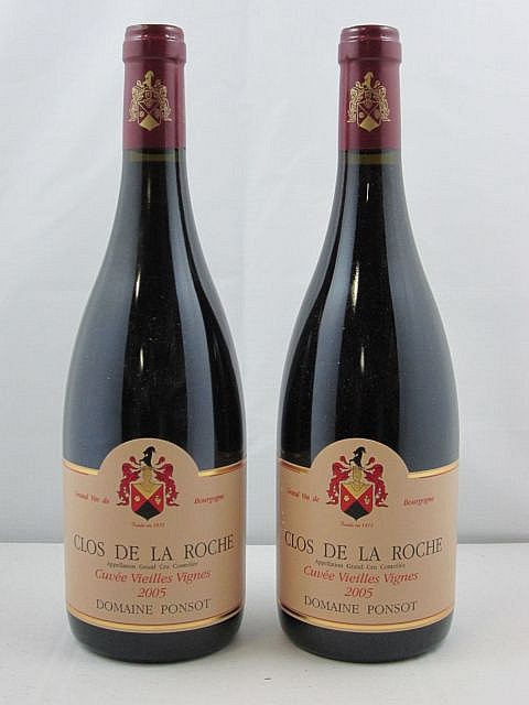 2 bouteilles CLOS DE LA ROCHE 2005 Grand Cru Vieilles Vignes