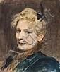 Victor-Gabriel Gilbert Paris, 1847 - 1933 Portrait de femme au manteau bleu Aquarelle