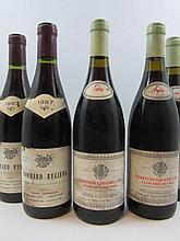 5 bouteilles 2 bts : POMMARD 1987 1er cru Rugiens. Michel Gaunoux (étiquettes tachées et abimées)