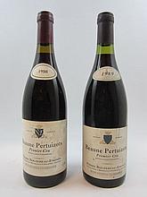 9 bouteilles 3 bts : BEAUNE 1989 1er cru Pertuizots. Pierre Bouzereau Emonin (étiquettes fanées et tachées)