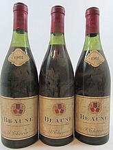3 bouteilles BEAUNE 1961 Thorin négociant (manque 1 colerette millésime