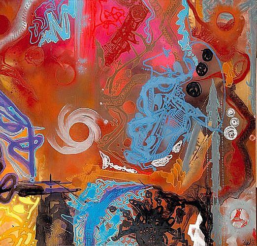 SHUCK ONE (né en 1970 -) ORGANES SCIENTIFIC'S, 2001 Acrylique et peinture aérosol sur toile