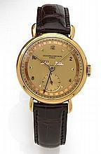 VACHERON CONSTANTIN TRIPLE QUANTIEME n°293529 vers 1950 Montre bracelet en or 18k (750). Boîtier rond, anses gouttes d'eau. Cadr...