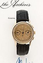 VACHERON CONSTANTIN PULSATIONS ref. 4072 n° 269581 vers 1941 Rare et beau chronographe bracelet en or rose. Boîtier rond, fond c...