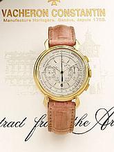 VACHERON CONSTANTIN PULSATIONS, RESPIRATIONS Réf. 4178 n° 330509, vers 1953 Rarissime et beau chronographe bracelet en or 18K (7...