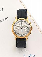 VACHERON CONSTANTIN Ref. 4178 n°340381, vers 1953 Rare et beau chronographe bracelet en or rose 18K (750). Boîtier rond, anses g...