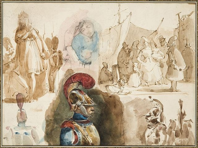 Nicolas-Toussaint Charlet Paris, 1792 - 1845 Recto : Feuilles d'études avec cuirrassiers et scènes de port ; Verso : Scène de port A..