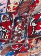 Jean DUBUFFET (1901-1985) SITE AVEC 3 PERSONNAGES, 18 janvier 1982 Acrylique sur papier marouflé sur toile