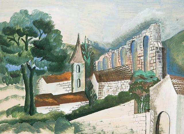 Ossip ZADKINE (Vitebsk, 1890- Paris, 1967) PAYSAGE, 1928 Gouache sur papier