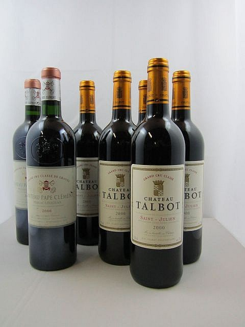 7 bouteilles 2 bts : CHÂTEAU PAPE CLEMENT 2000 CC Pessac Léognan (étiquette fanée)