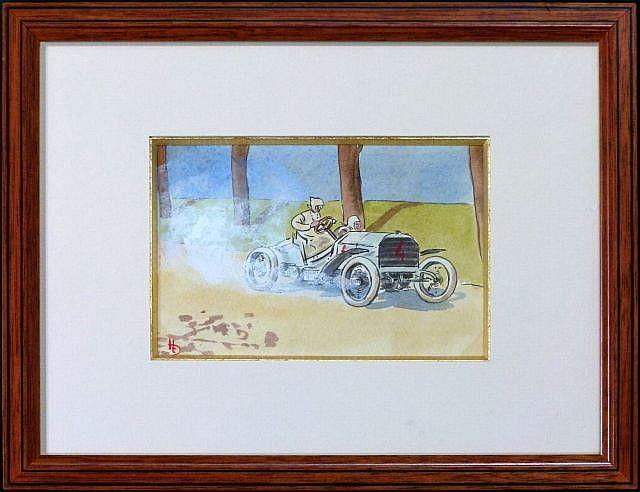 Harry ELIOTT (Hermet Charles Edmond) 1882 - 1959 Camille Jenatzy, futur vainqueur de la Coupe Gordon Bennett 1903 sur Mercedes