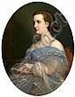 Charles-Zacharie Landelle Laval, 1821 - Chennevières, 1908 Portrait de femme à la robe bleue Huile sur toile à vue ovale,