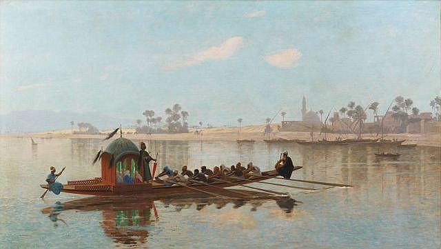 Jean-Léon GEROME (Vesoul, 1824 - Paris, 1904) Promenade du Harem