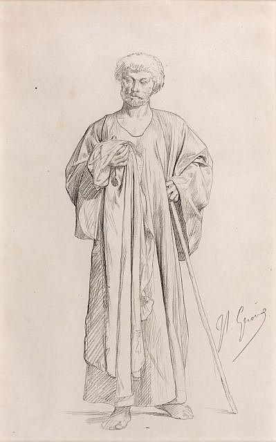 Jean-Léon GEROME (Vesoul, 1824 - Paris, 1904) Dessin préparatoire pour