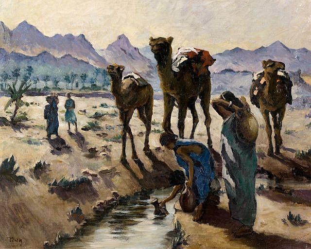 Henri PONTOY (Reims,1888 - Reims,1968) Les porteuses d'eau