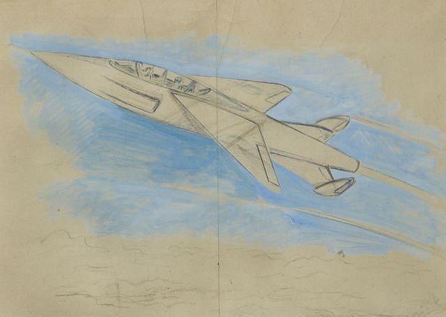 Géo HAM (Georges Hamel, 1900 - 1972)  Avion fusée