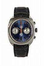 HEUER CARRERA MG, vers 1970 Rare et beau chronographe bracelet en acier