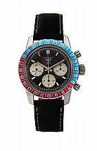 HEUER AUTAVIA GMT réf. 2446C, vers 1970 Rare et beau chronographe bracelet en acier