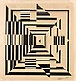 Henri BERLEWI (Varsovie, 1894- Paris, 1967) COMPOSITION Encre de chine sur carton