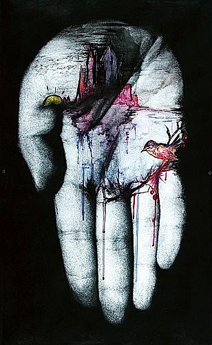 Annette MESSAGER (née en 1943) SANS TITRE, LA MAIN gouache aquarelle, crayon gras sur photographie, monté sur panneau