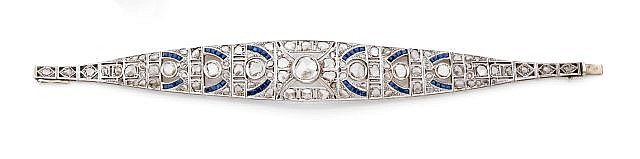 A DIAMOND, SAPPHIRE AND WHITE GOLD BRACELET