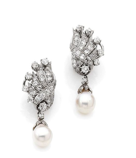A PAIR OF DIAMOND, CULTURED PEARL AND 14K WHITE GOLD EAR PENDANTS