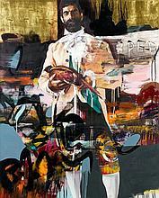 Conor HARRINGTON Né en 1980 TARDIS OF DELIGHT - 2012 Huile, peinture aérosol et feuilles d'or sur toile