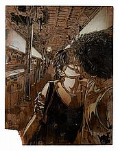 C215 Né en 1973 LE BAISER DE VENTIMIGLIA - 2010 Pochoir et peinture aérosol sur panneau de bois