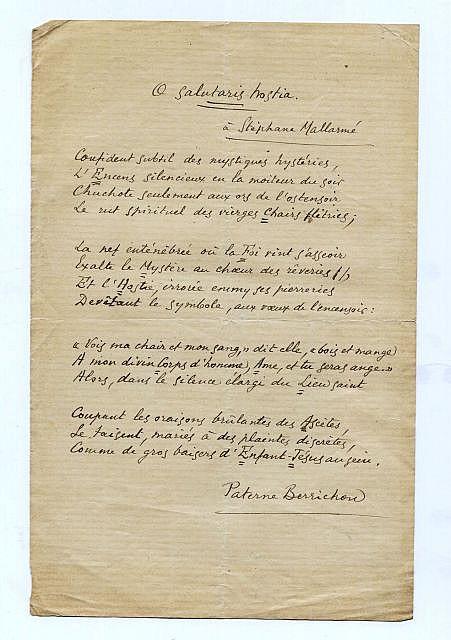 ¤ Paterne BERRICHON  Sonnet autographe, avec envoi à Stéphane Mallarmé