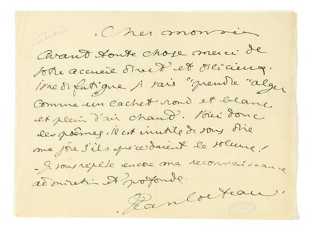 Jean COCTEAU Lettre à Marcel Prévost [Vers 1912]. 1 p. in-4 à l'italienne. Signé Jean Cocteau. ...