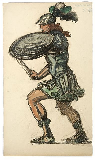 Maxime DETHOMAS Homme en cuirasse Fusain et gouache de couleurs, 49 x 28 cm.