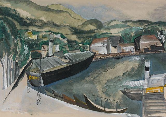Ossip ZADKINE (Vitebsk, 1890- Paris, 1967) LAC DE COME, 1925 Gouache sur papier