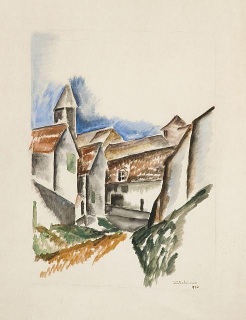 Ossip ZADKINE (Vitebsk, 1890 - Paris, 1967) RUE DE VILLAGE ET CLOCHER, 1920 Aquarelle et crayon sur papier