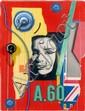 Peter KLASEN (né en 1935) VISAGE A.60/MANOMETRE Technique mixte et collage sur papier
