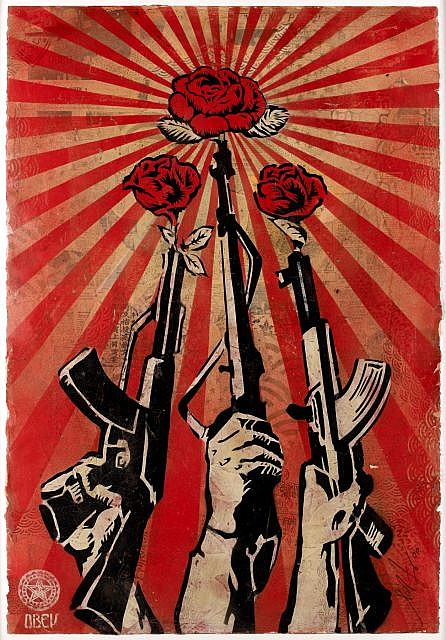 Shepard FAIREY (OBEY GIANT) (né en 1970) GUNS AND ROSES, MAI 2006 Technique mixte, pochoir et collages sur papier