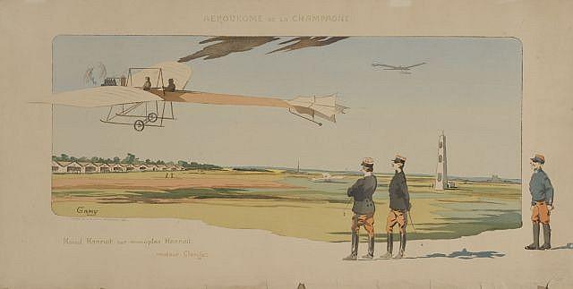 GAMY (présumée Marguerite Montaut)  Aérodrome de Champagne, Marcel Hanriot sur monoplan Hanriot, moteur Clerget