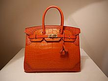 HERMES An red Sanguine alligator & lizard & red Brique ostrich leather 35 cm