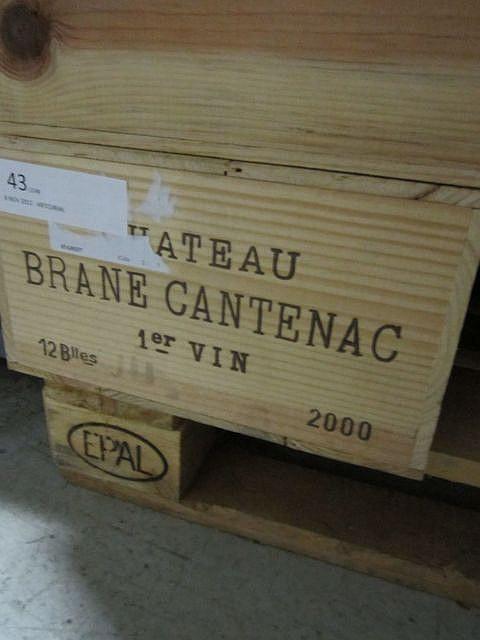 12 bouteilles CHÂTEAU BRANE CANTENAC 2000 2è GC Margaux Caisse bois d'origine
