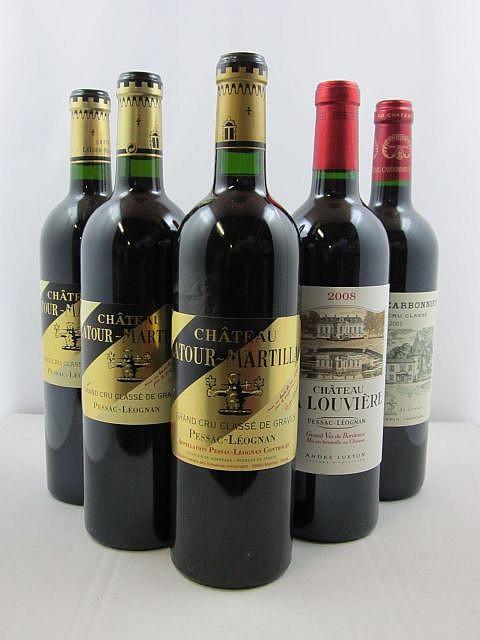 12 bouteilles 2 bts : CHÂTEAU LA LOUVIERE 2008 CC Pessac Léognan