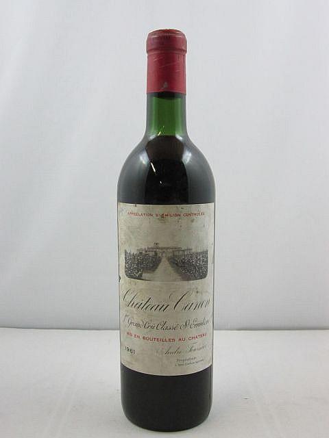 1 bouteille CHÂTEAU CANON 1961 1er GCC (B) Saint Emilion (base goulot