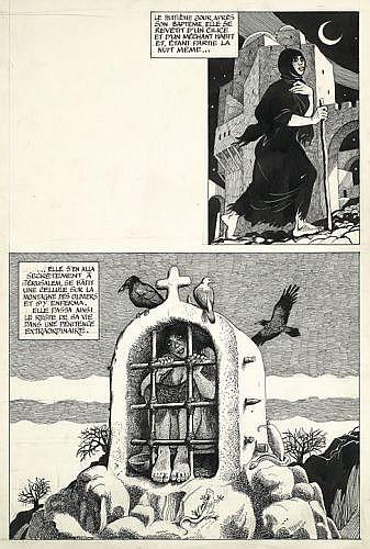 PICHARD Georges (1920-2003)  UNE VIE DES SAINTS Encre de Chine et gouache blanche sur carton pour une planche