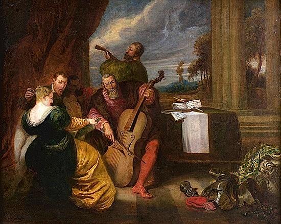 Attribué à Joseph Nicolas ROBERT-FLEURY (Cologne, 1797 - Paris, 1890) ASSEMBLEE DE MUSICIENS VENITIENS Huile sur toile